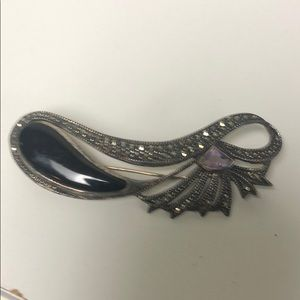 Onyx marcasite and amethyst sterling pin